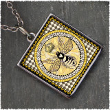 Vintage Bee Reversible Square Pendant