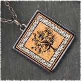 Vintage Tree of Life Orange Reversible Square Pendant