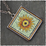 Sunflower Green Reversible Square Pendant