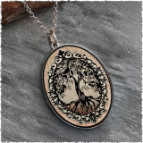 Tree of Life Brown Reversible Silver Oval Pendant