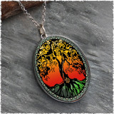 Tree of Life Color Reversible Silver Oval Pendant