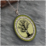 Vintage Tree of Life Green Reversible Silver Oval Pendant