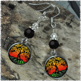 Tree of Life Color Crystal Beaded Circle Earrings