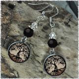 Tree of Life Brown Crystal Beaded Circle Earrings