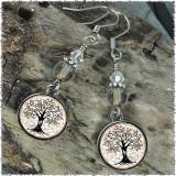 Tree of Life Gray Crystal Beaded Circle Earrings