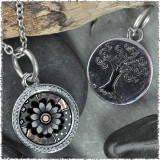 "Gray Black Flower ""Tree"" Pendant"