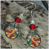 Abstract Music Crystal Circular Earrings