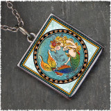 Mermaid Reversible Square Pendant
