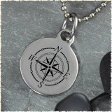 Compass Rose Reversible Stainless Steel Pendant