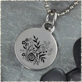Leaf Flower Black White Reversible Stainless Steel Pendant