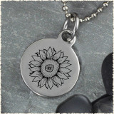 Sunflower Reversible Stainless Steel Pendant