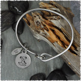 Dog Stainless Bangle with Reversible Charm
