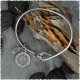 Peace Flower Stainless Bangle with Reversible Charm