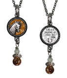Horse Small Circular Reversible Beaded Pendant