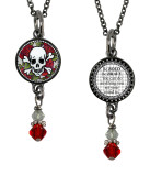 Skull Small Circular Reversible Beaded Pendant