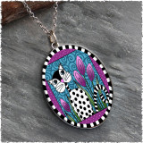 Black and White Cat Reversible Silver Oval Pendant