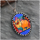 Cat and Mice Reversible Silver Oval Pendant