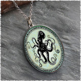 Octopus Reversible Silver Oval Pendant
