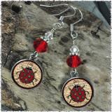 Ladybug Music Crystal Circular Earrings
