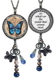 Monarch Blue Reversible Circular Charm and Bead Pendant