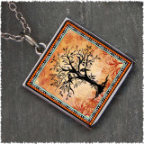 Tree of Life Orange Reversible Square Pendant