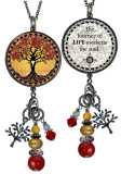 Tree of Life Yellow Reversible Circular Charm & Bead Pendant