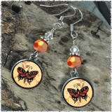 Orange Butterfly Crystal Circular Earrings