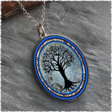 Tree of Life Dark Blue Reversible Silver Oval Pendant