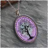 Tree of Life Purple Reversible Silver Oval Pendant
