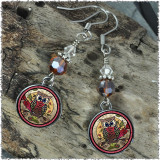 Owl Crystal Circular Earrings