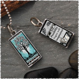 Tree of Life Teal Revesible Rectangular Pendant