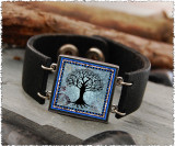 Tree of Life Dark Blue Double Sided Leather Cuff Bracelet