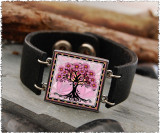 Tree of Life Pink Double Sided Leather Cuff Bracelet