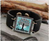 Tree of Life Teal Double Sided Leather Cuff Bracelet