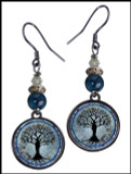 Tree of Life Dark Blue Crystal Circular Earrings