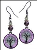 Tree of Life Purple Crystal Circular Earrings
