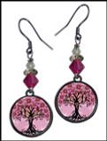 Tree of Life Pink Crystal Circular Earrings