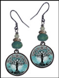 Tree of Life Teal Crystal Circular Earrings