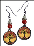 Tree of Life Yellow Crystal Circular Earrings