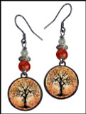 Tree of Life Orange Crystal Circular Earrings