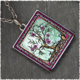 Tree of Life Fusia Reversible Square Pendant