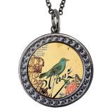 "Blue Bird Circular Reversible Vintage ""Leaf"" Pendant"