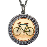 "Bicycle Circular Reversible Vintage ""Leaf"" Pendant"