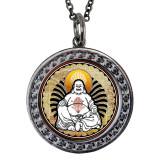 """Buddha Circular Reversible Vintage """"Leaf"""" Pendant"""