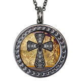 "Celtic Cross Circular Reversible Vintage ""Leaf"" Pendant"
