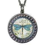 "Dragonfly Circular Reversible Vintage ""Leaf"" Pendant"