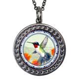"Hummingbird Circular Reversible Vintage ""Leaf"" Pendant"