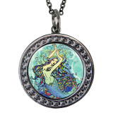 "Mermaid Circular Reversible Vintage ""Leaf"" Pendant"