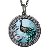 "Peacock Circular Reversible Vintage ""Leaf"" Pendant"