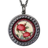 "Rose Circular Reversible Vintage ""Leaf"" Pendant"